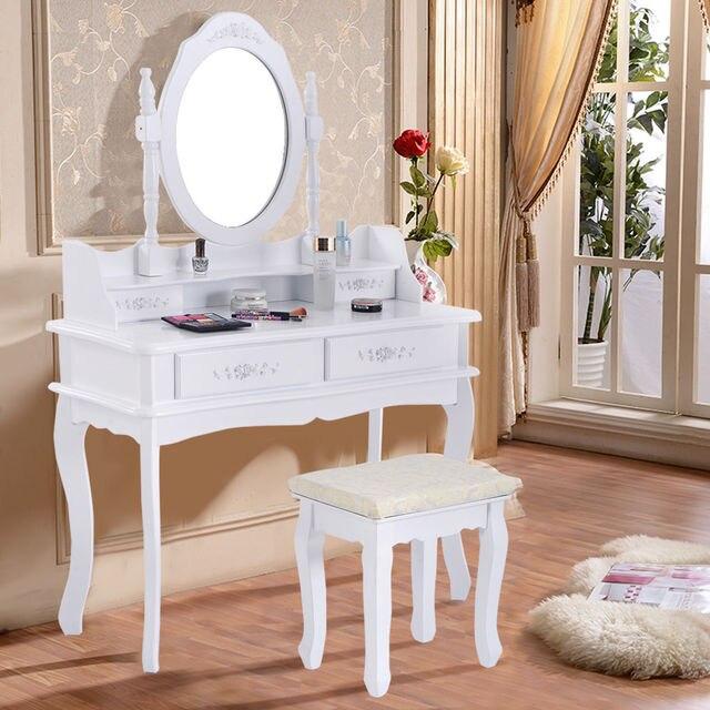Giantex Biały Biżuteria Makijaż Toaletkę Toaletka Zestaw Z Stolcu I