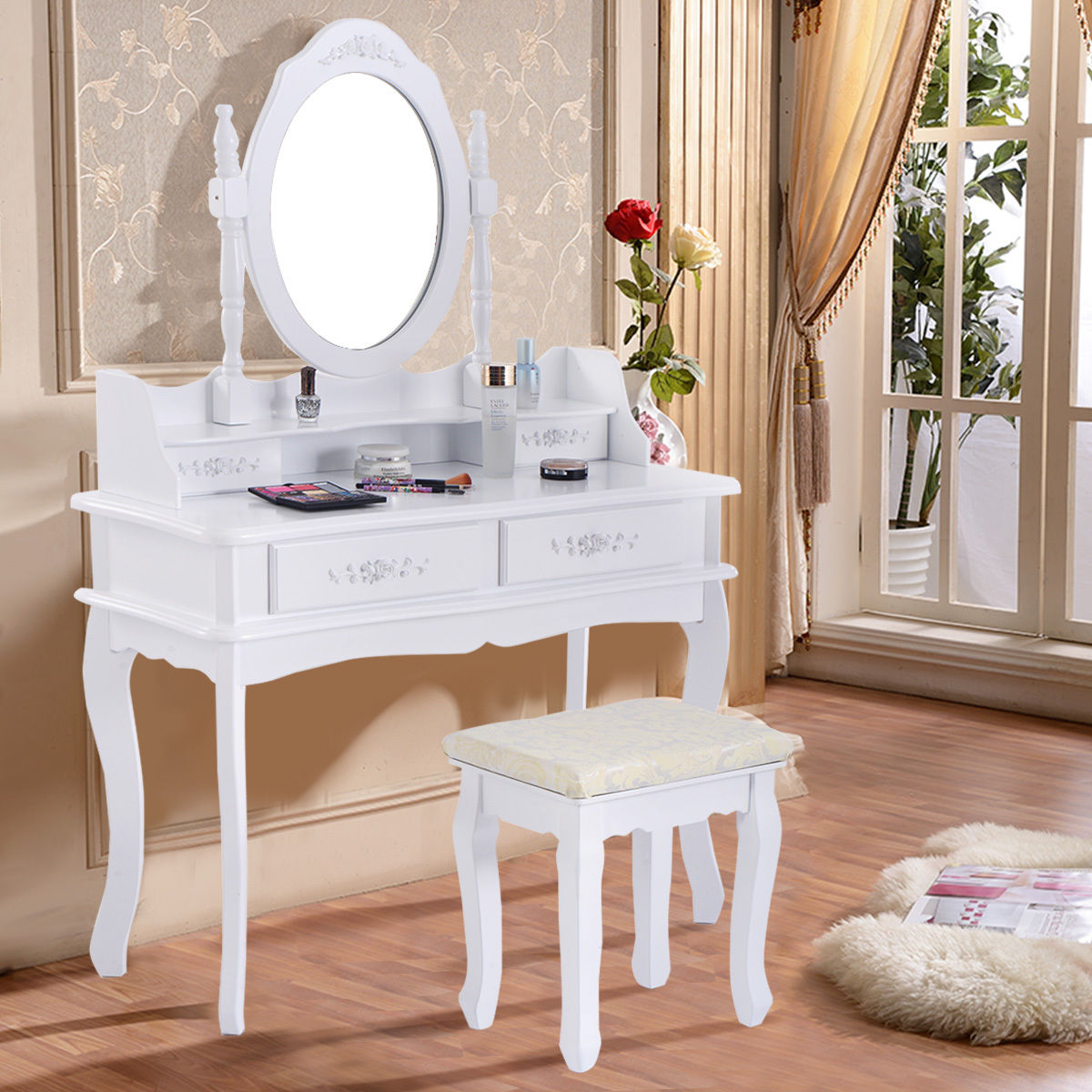 Giantex White Vanity Table Jewelry Makeup Dressing Table Set with Stool and 4 Drawerd Modern Mirror Wood Desk HW58803 giantex wood makeup dressing table stool set jewelry desk drawer mirror black home furniture hw52951bk