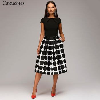 Capucines Women Summer Point Printing Patchwork Dress Short Sleeves Round Neck Pleated Casual Dress Vintage A-line Party Dresses 1