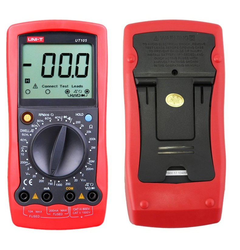 Automotive Multimeter <font><b>UT105</b></font> Multi-Purpose Meters DC Ammeter UNI-T <font><b>UT105</b></font> with LCD Digital Ammeter Handheld <font><b>UT105</b></font> Multimeter image