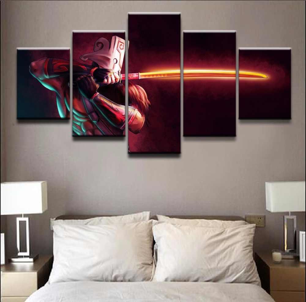 5 панелей DOTA 2 Juggernaut современные декоративные для дома Холст напечатаны роспись стены книги по искусству для гостиная модульная фотографии YK-206