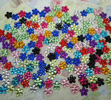 500Pcs 10mm Acrylic Mixed Bling Flower Decoration Crafts Flatback Cabochon Scrapbooking Fit Hair Clips Embellishments Beads Diy(China)