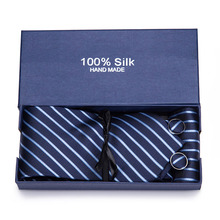 4pcs/set 100% Silk ties Mens Ties fashion Necktie set Plaid Stripe Mans Tie with gift box Extra long size 145*7.5cm