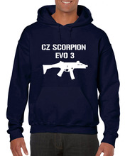 Cz Scorpion Evo 3 Submachine Gun Military Distressed Popular Style Hoodies Men Slim Fit Cotton High-Quality Movie Sweatshirt