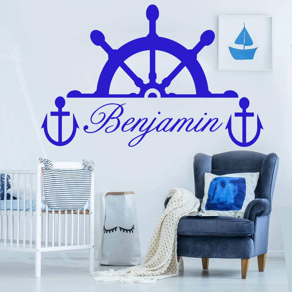Custom Name Rudder Wall Stickers Art Decor For Baby Room Kids Rooms Decoration Decal Creative