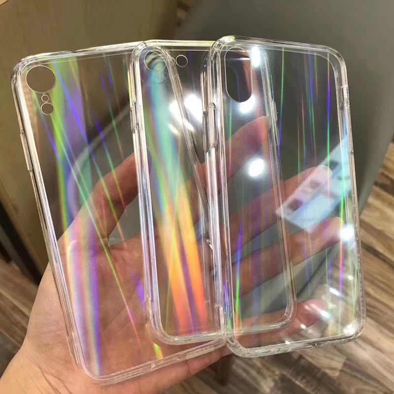 Caixas do laser do arco-íris do gradiente para o iphone x xs max xr fundas macios transparentes para o iphone 11 xr 6 s 7 8 mais tampas acrílicas claras