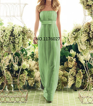 DK Bridal Gorgeous Apple Green Chiffon Bridesmaid Dresses Elegant Strapless Long Party Gown For Teen Girls