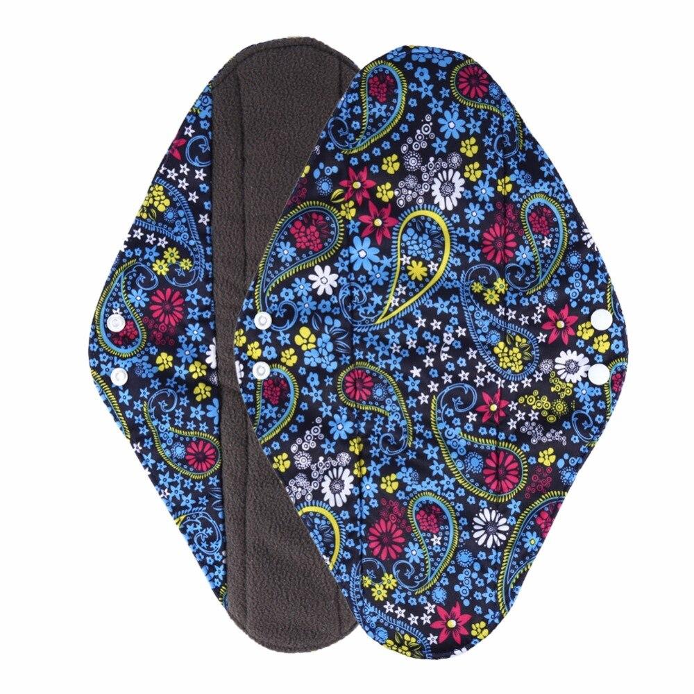 1PC Women Menstrual Pads Antibacterial Bamboo Charcoal Fiber Sanitary Towel Pads Waterproof Panty Liners Washable Menstrual Pads