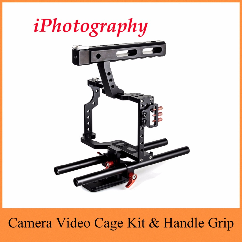 DSLR Rod Rig Camera Video Cage Kit & Handle Grip CS-V5 for Sony A7 A7r A7s II A6300 A6000 For Panasonic GH4 aluminum dslr camera cage kit support for canon 5d mark ii 7d 60d 15mm rod rig