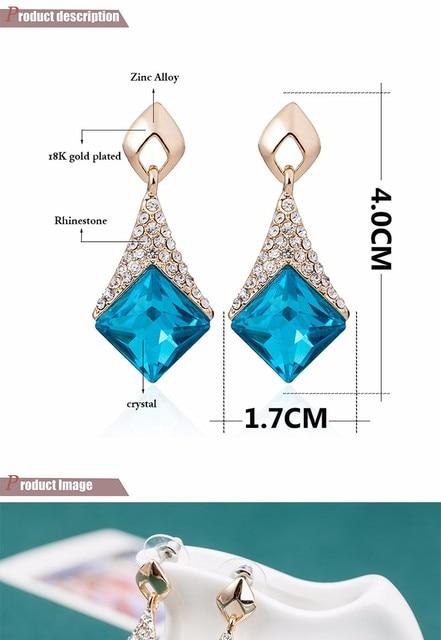 Женские Геометрические серьги квадратные подвески с кристаллами