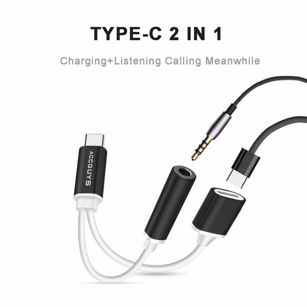 ACCGUYS 2 In 1 USB Type C to 3.5mm Female Audio Jack Headphone Cable Charging Adapter For Letv 2pro Letv Max 2 Xiaomi 6 Huawei