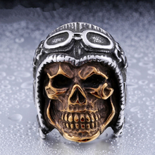 DoreenBeads Punk Pilot Skull Ring Men 316L Stainless Steel Jewelry Fashion Vintage Male Skeleton Rings Party Gift Hight Quality
