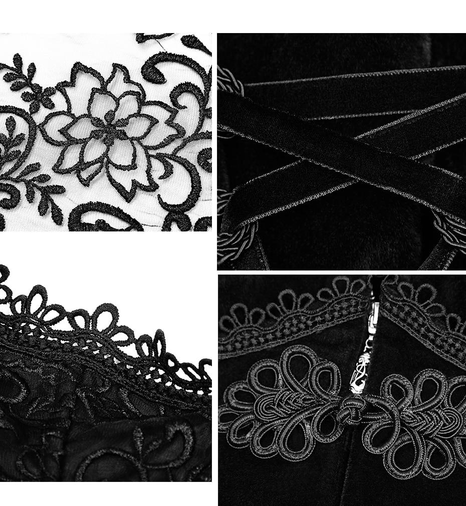 Moyen Magnifique D'hiver Gothique Manteau Noir Wollen longueur Vestes Veste Rétro Élégante De Fête Femmes Formelle Palais Cour Rave Punk Snq0ff