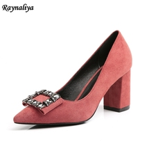 Woman Square Buckle Crystal Pumps 5 CM/7CM Sexy Wedding Shoes Red High Heels Gladiator Prom Party XZL-B0056