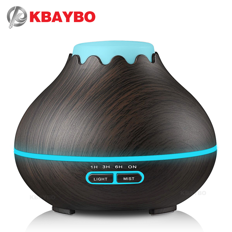 KBAYBO 400ml Air Humidifier Essential Oil Diffuser Aroma Lamp Aromatherapy Electric Aroma Diffuser Mist Maker for Home-Wood