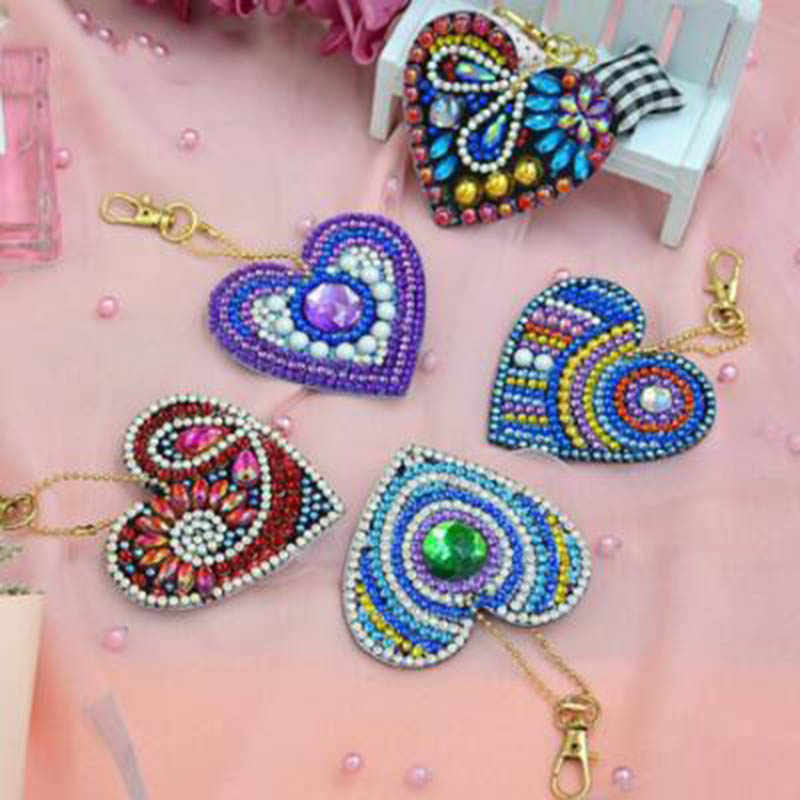 5pcs 5D DIY Diamond Painting Women Girl Bag Jewelry Keychain Pendant Full Special Shaped Drill Embroidery Heart Shape Colorful