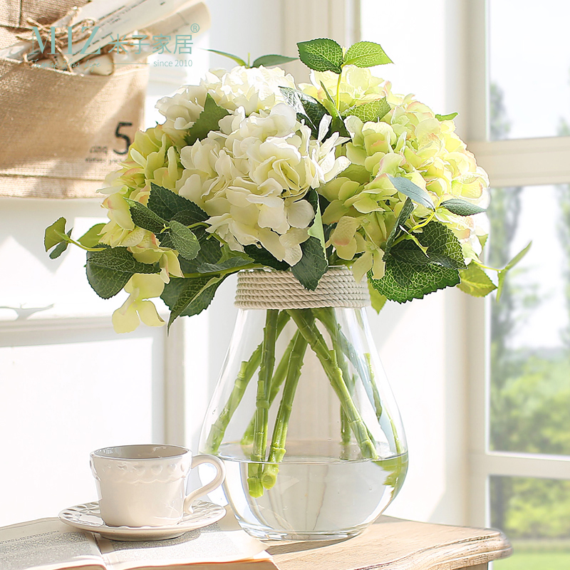 Miz 1 Set transparente Glasvase Hydrangea Flower Set Tabletop Vase für Zuhause