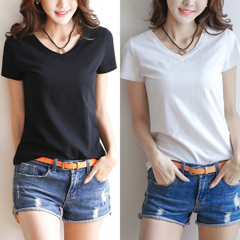 Womens Milk Fiber Basic T-Shirt Summer Short Sleeve V-Neck Tops Solid Color Slim
