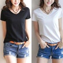 Womens Milk Fiber Basic T-Shirt Summer Short Sleeve V-Neck T