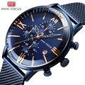 Мужские кварцевые часы MINI FOCUS  водонепроницаемые часы из нержавеющей стали синего цвета