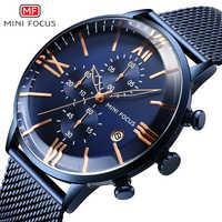 MINI FOCUS Luxury Brand Men Watches Stainless Steel Men's Wristwatch Quartz Wrist Watch Men Waterproof Reloj Hombre Relogio Blue