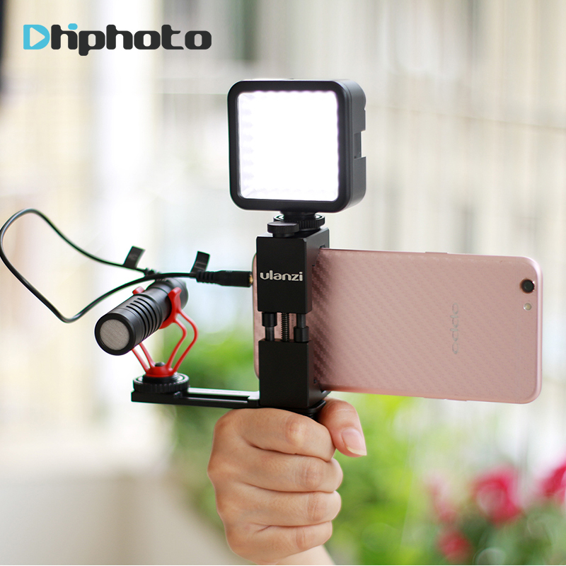 Handheld Phone Vlogging Video Stabilizer Set with Boya BY-MM1 Microphone/LED Video Light,Handle Grip Rig for iPhone Videoblogger saramonic smartmixer smartphone video film microphone handheld recording stereo microphone rig for iphone samsung android