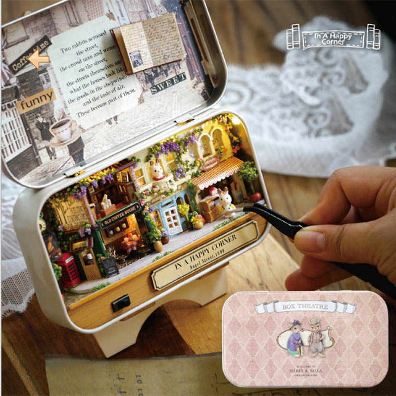 3D DIY Handmade Box Theatre Dollhouse Home Decoration Crafts Miniature Boxes Assemble Gift For Kids Friend In A Happy Corner