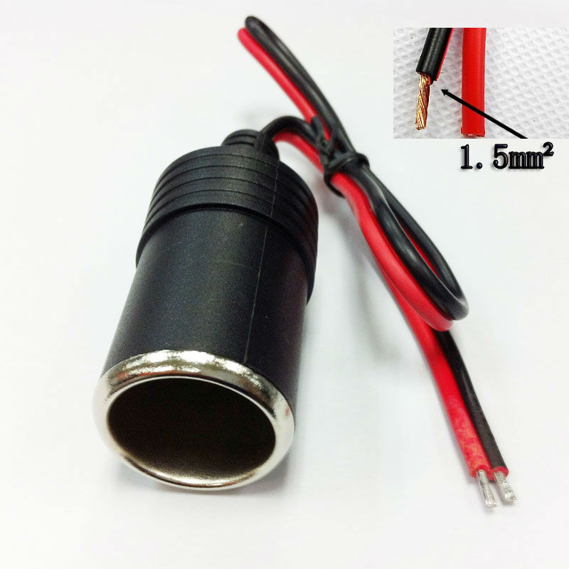 12v Car Cigarette Lighter  Female Socket Plug Connector  female socket cable  High Quality 1.5mm2 18A 16awg