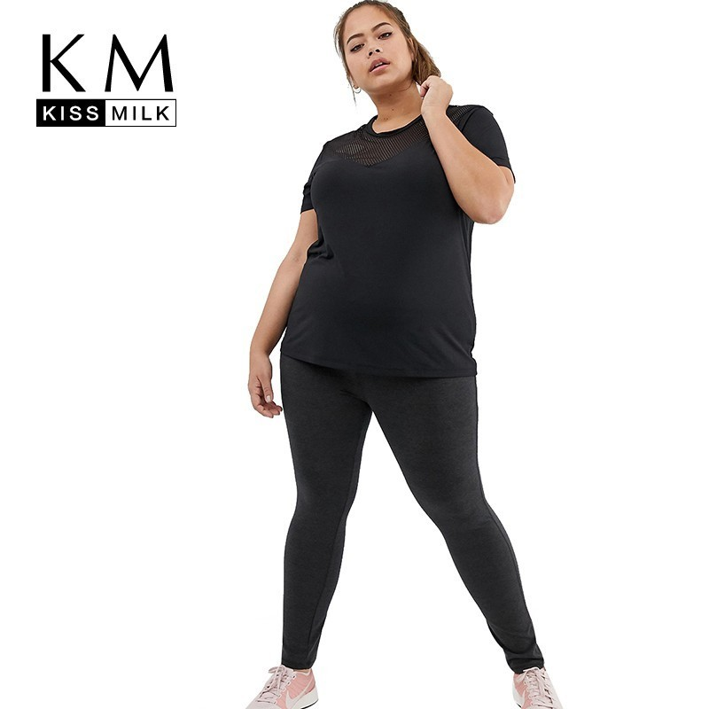 Kissmilk  2019 New Fashion Hot Sale Plus Size Simple Commuter  Curve Mesh Detail Loose Casual Fit Solid Black Womens T-Shirts