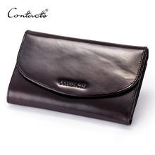 CONTACT'S Men Long Wallet Designer Burnished Italy Leather Male Purse Brand Clutch Luxury Wallets Carteira Masculina
