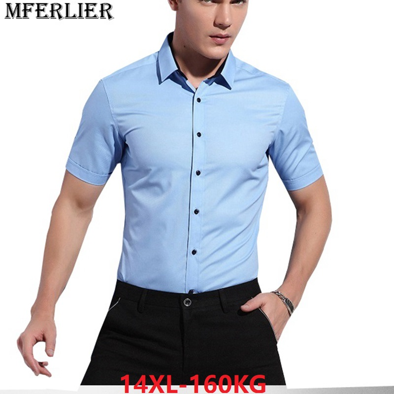 summer plus size big men wedding shirt large size cotton 10XL business formal  short sleeve office 0796b2c95494