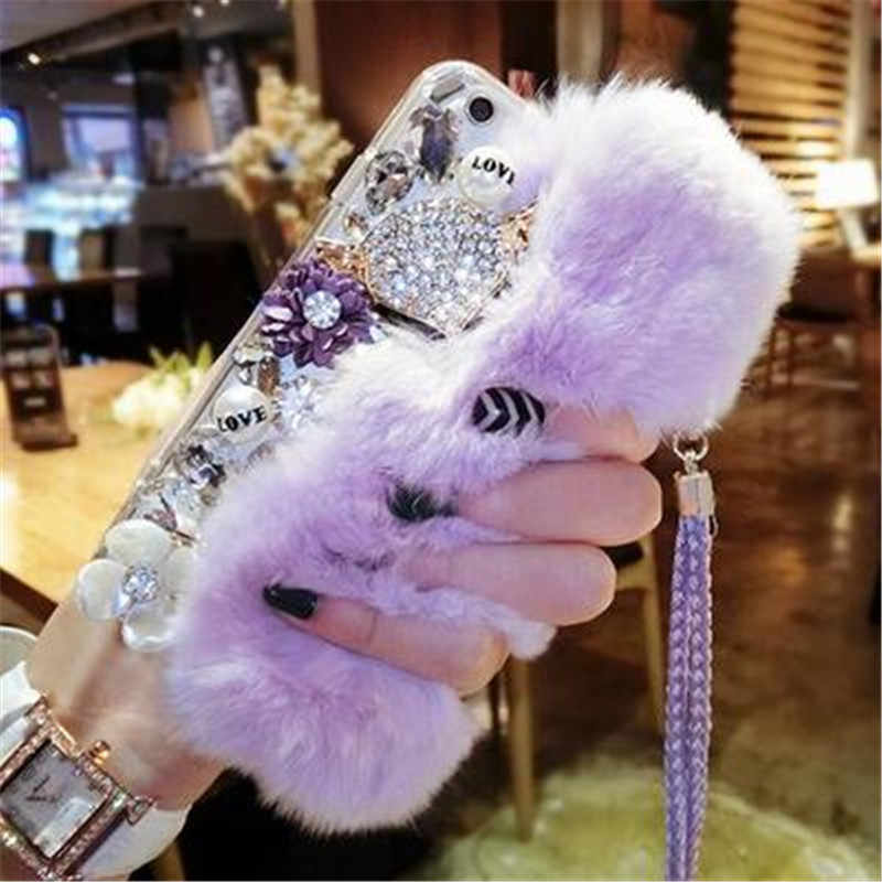 Fluffy Rabbit Fur Silicone Phone Cases For Huawei Honor 9 10 7X lite V10 Nova2 P9 P10 P20 Mate 9 10 Case Bling Back Cover Shell