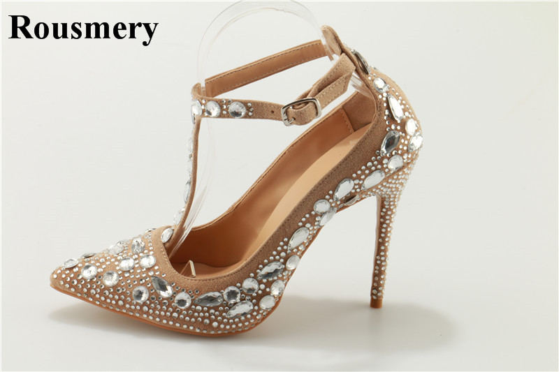 2018 Spring New Fashion Women Pointed Toe Blingbling Rhinestone Pumps Ankle Strap Crystal High Heels Wedding Dress Shoes luxury red satin high heel pumps pointed toe crystal ankle strap wedding dress shoes thin heels cut out rhinestone sandals