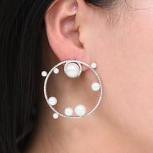 SisCathy Brand Luxury Imitation Pearl Earring for Women Trendy Wedding Cubic Zirconia CZ Bohemian Dubai Bridal Earrings 2019