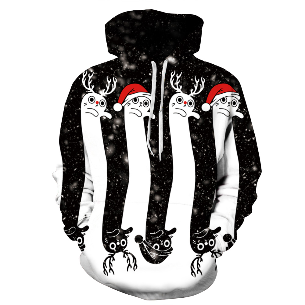 CFYH 2018 New Christmas Gift Hoodies Men/women 3d Sweatshirts Print Christmas Long Cats Thin Space Galaxy Hooded Hoodies Tops