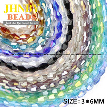 JHNBY Long Bicone Faceted Austrian crystal beads 100pcs 3*6mm High quality glass Loose beads for Jewelry bracelet making DIY()