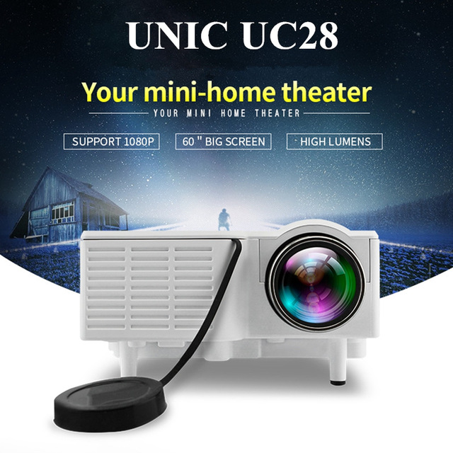 UNIC UC28 Mini Pico Projector Home Cinema Theater Digital LED LCD Projector VGA/USB/SD/AV/HDMI Multimedia Proyector цена
