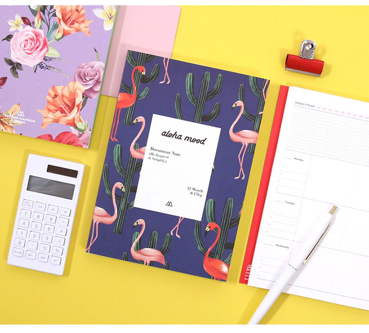 2019 Flamingo Planner 12.7*18cm Undated DIY Monthly Weekly Planner 176P Korean Fashion Agenda Gift the beauty and beast floral diary a6 undated monthly weekly planner hobonichi fashion journal gift