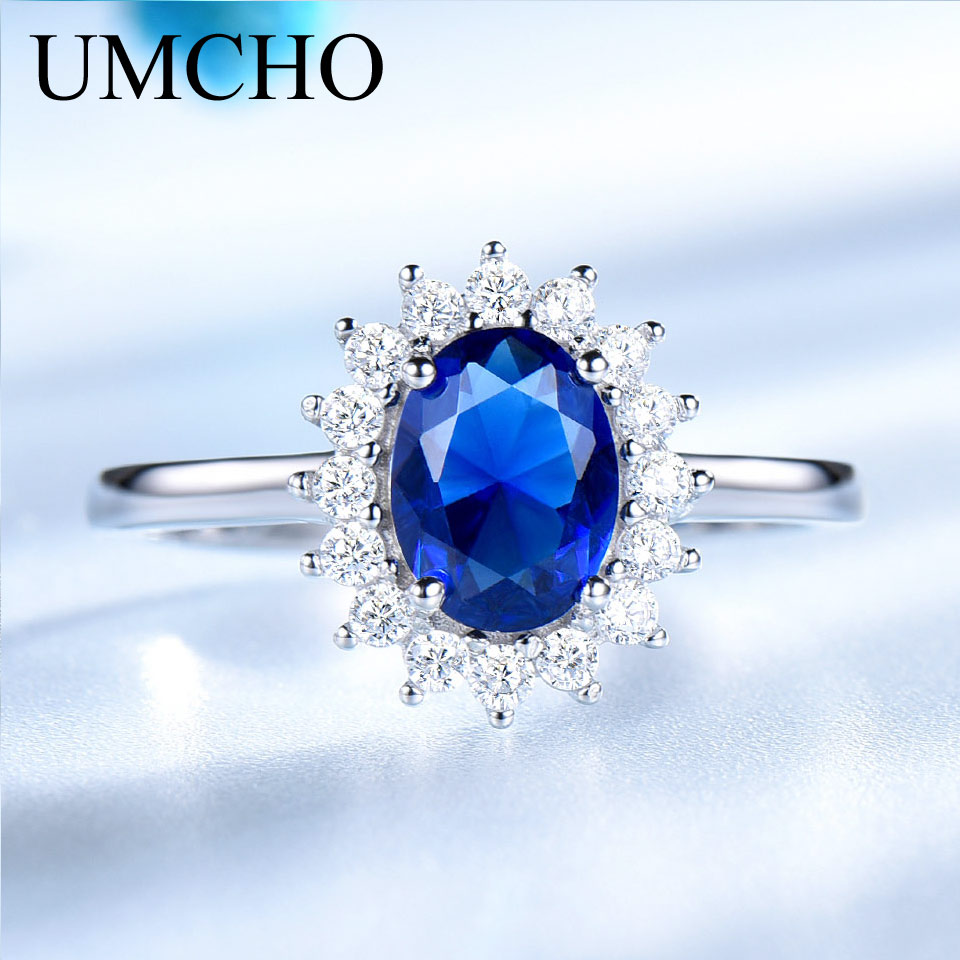 UMCHO Luxury Blue Safir 6 * 8mm Princess Diana Ringar Äkta 925 - Fina smycken