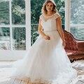 Cap Sleeve Sheer Neck 2017 Plus Size Wedding Dresses Applique Bridal Tulle Gown Lace Wedding Dress Floor-length