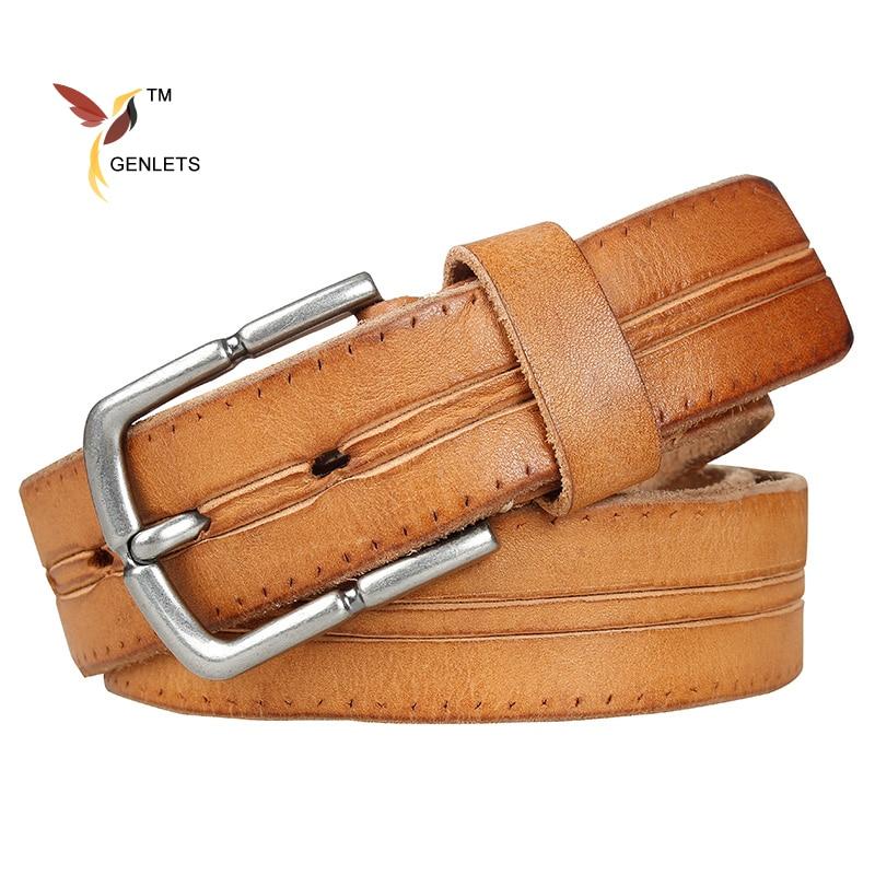 mens belt genuine leather cowhide buckle belts for men new brown color buckle strap vintage designer luxury quality
