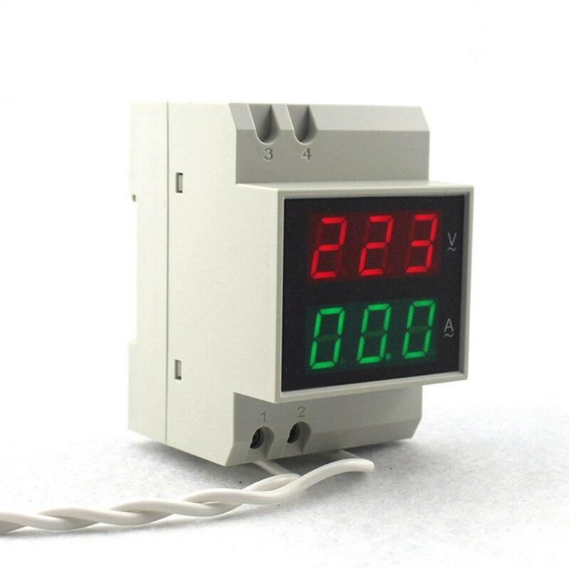 DIN RAIL digitální střídavý voltmetr ampérmetr AC80-300V 450V - Měřicí přístroje - Fotografie 3