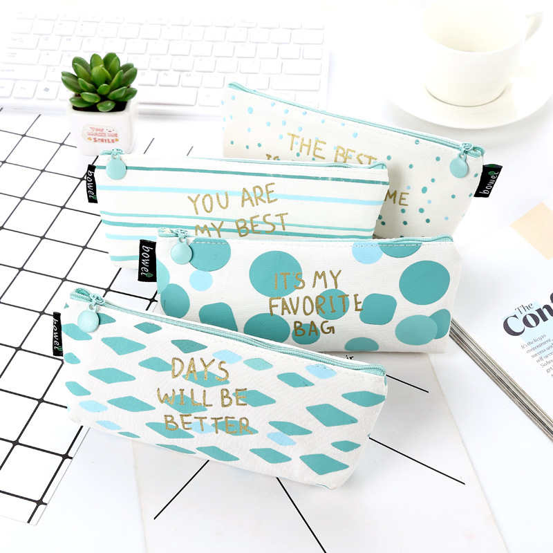 Kawaii Cute Blue Stripe Canvas Pencil Case Pen Bags School Tools For Girls And Kids School Office Stationery Supplies