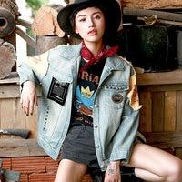 Магазине Джессики Новый Демисезонный Для женщин личность Рок в стиле панк Заклёпки Вышивка Повседневное свободные Chic короткие джинсовые к