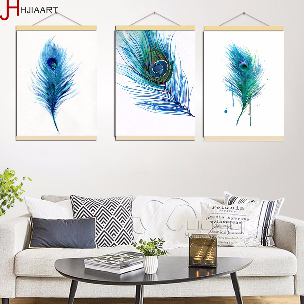 Framed Triptych Watercolor Blue Peacock Feather A4 Poster ...