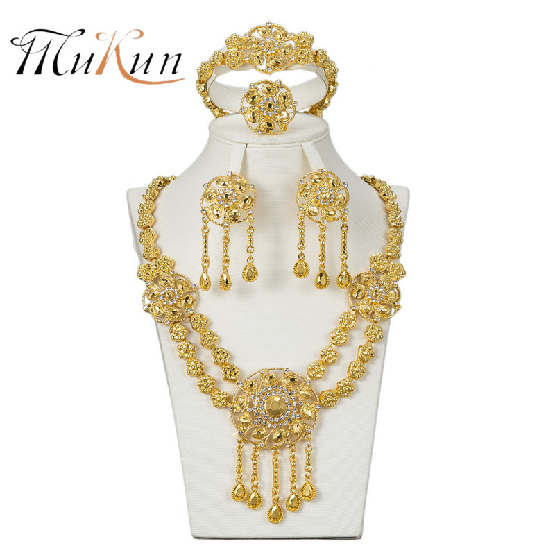 MUKUN 2018 High quality African Jewelry suit fashion female wedding jewelry gold accessories jewelry necklace earring jewellery