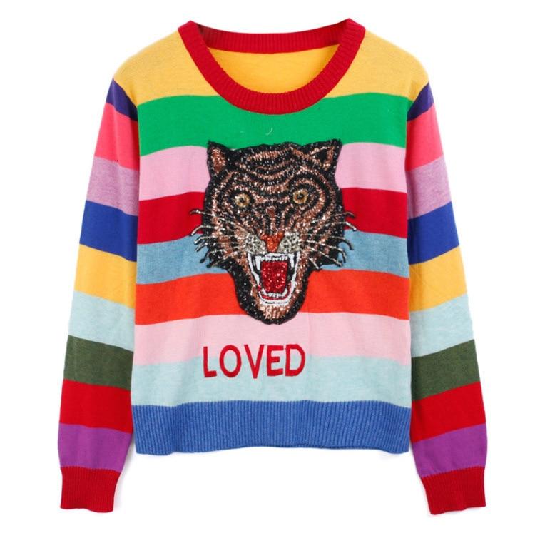 newest dc37b b5115 Donne Pullover maglieria arcobaleno testa di Tigre colorato ...