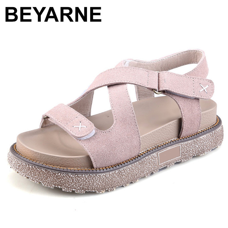 BEYARNE New Arrival Summer Women Gladiator Sandals Rome Style Comfort Flats Shoes Vintage Platform Casual Sandals gladiator sandals 2017 fock women summer comfort flats fashion creepers platform casual shoes woman 2 colors
