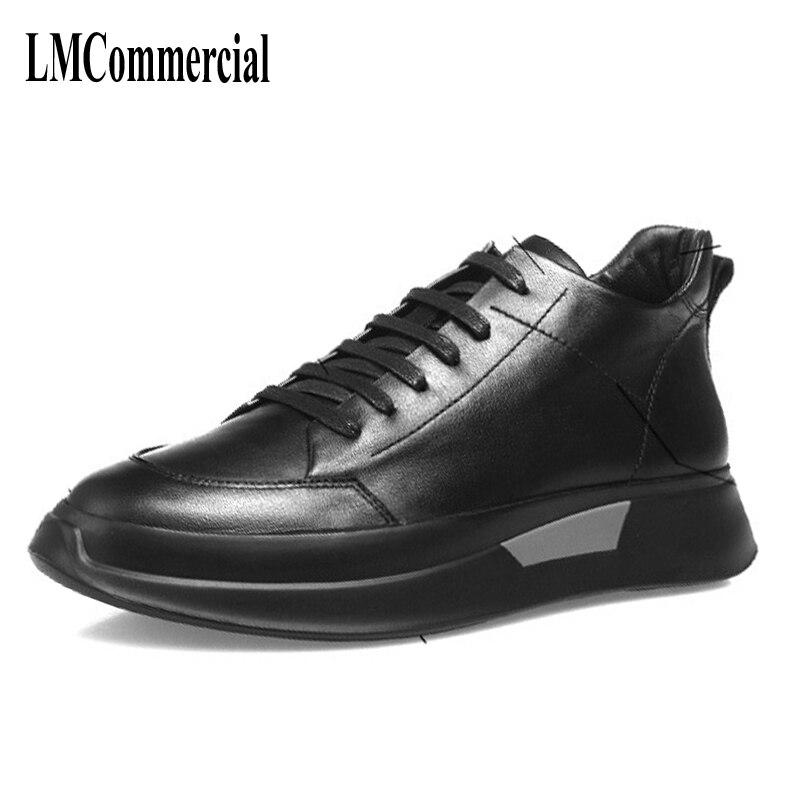 Coréenne en cuir à semelles épaisses bottes Martin de Angleterre respirant casual bottes chaussures automne hiver Britannique rétro hommes chaussures