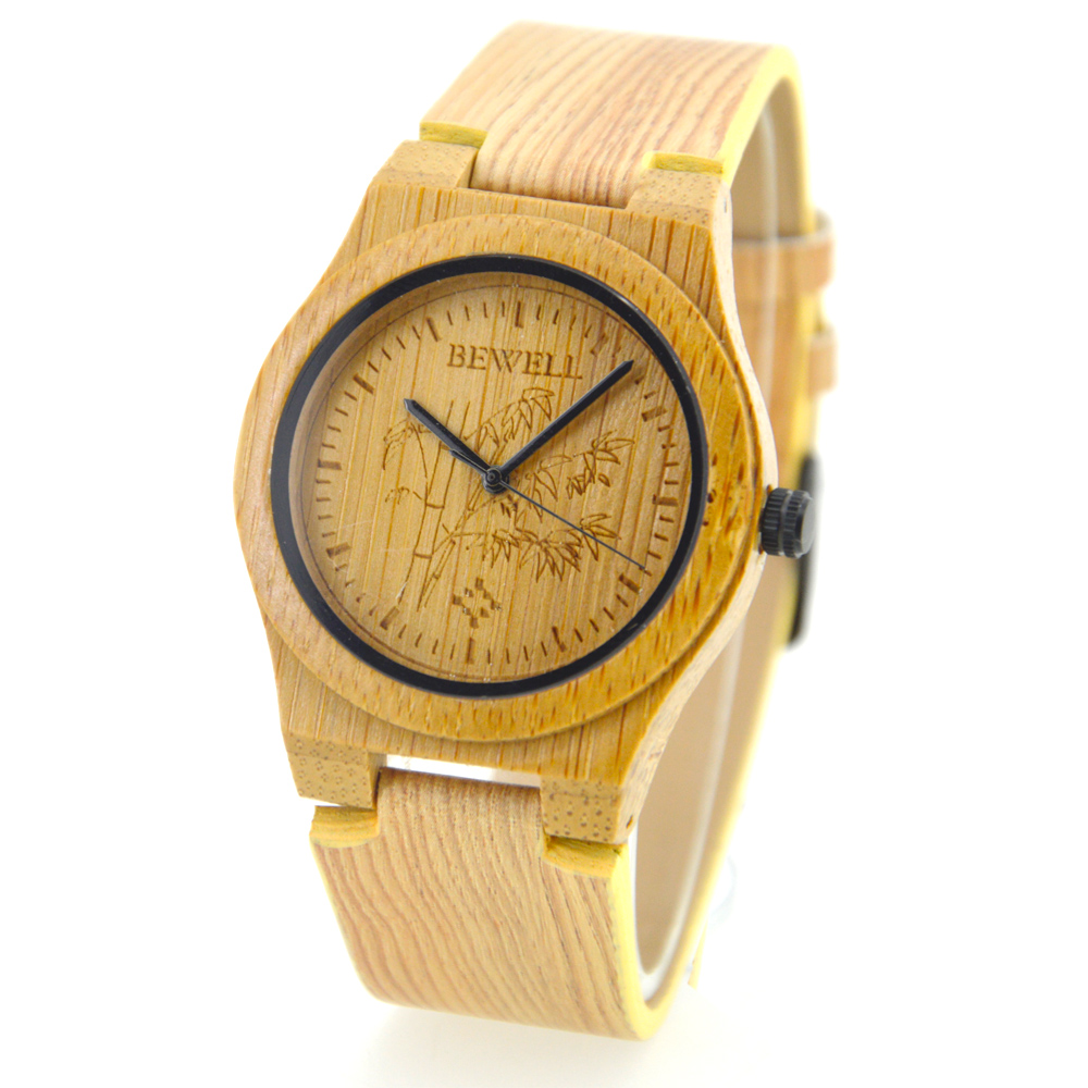 BEWELL Wrist-Watches Clock Wood Quartz Ladies Lover Luxury with And Brand Genuine-Leather